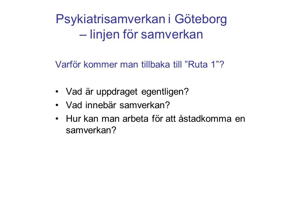 """Psykiatrisamverkan i Göteborg – linjen för samverkan Varför kommer man tillbaka till """"Ruta 1""""? •Vad är uppdraget egentligen? •Vad innebär samverkan? •"""