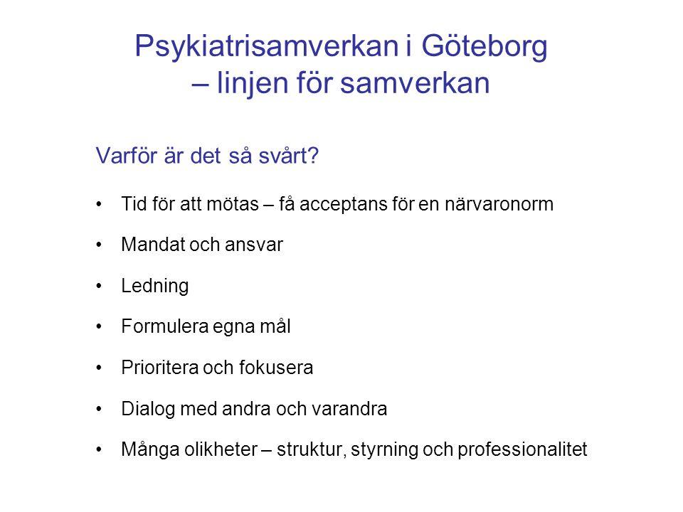 Psykiatrisamverkan i Göteborg – linjen för samverkan Varför är det så svårt? •Tid för att mötas – få acceptans för en närvaronorm •Mandat och ansvar •