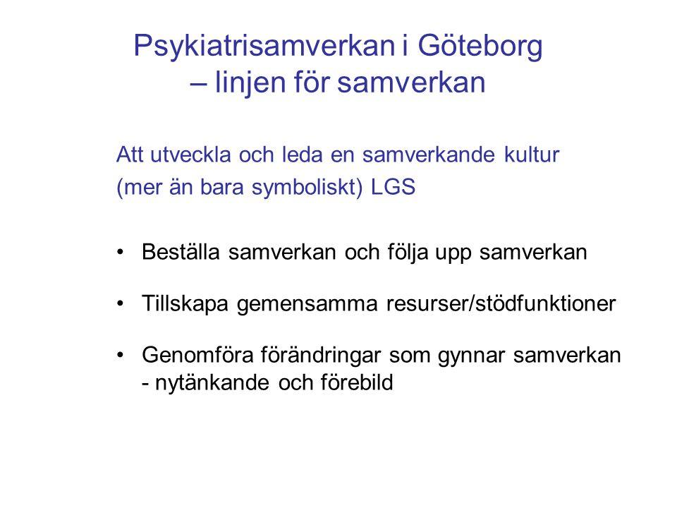 Psykiatrisamverkan i Göteborg – linjen för samverkan Att utveckla och leda en samverkande kultur (mer än bara symboliskt) LGS •Beställa samverkan och