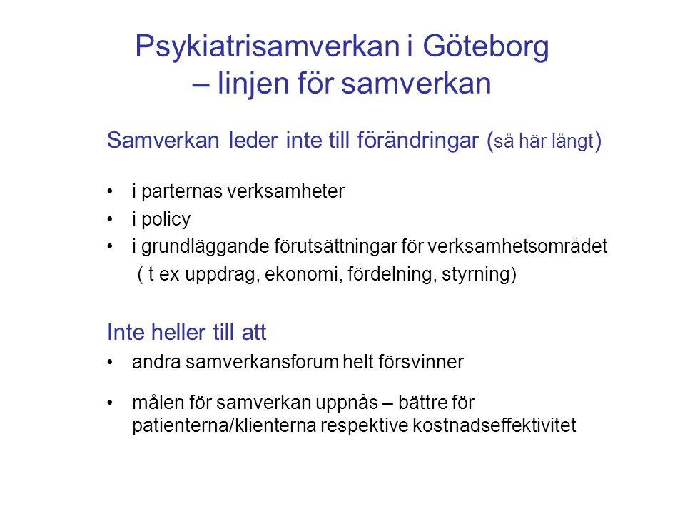 Psykiatrisamverkan i Göteborg – linjen för samverkan Samverkan leder inte till förändringar ( så här långt ) •i parternas verksamheter •i policy •i gr