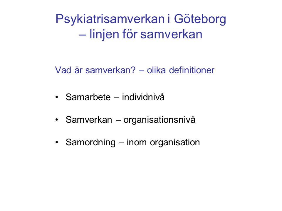 Psykiatrisamverkan i Göteborg – linjen för samverkan Vad är samverkan? – olika definitioner •Samarbete – individnivå •Samverkan – organisationsnivå •S