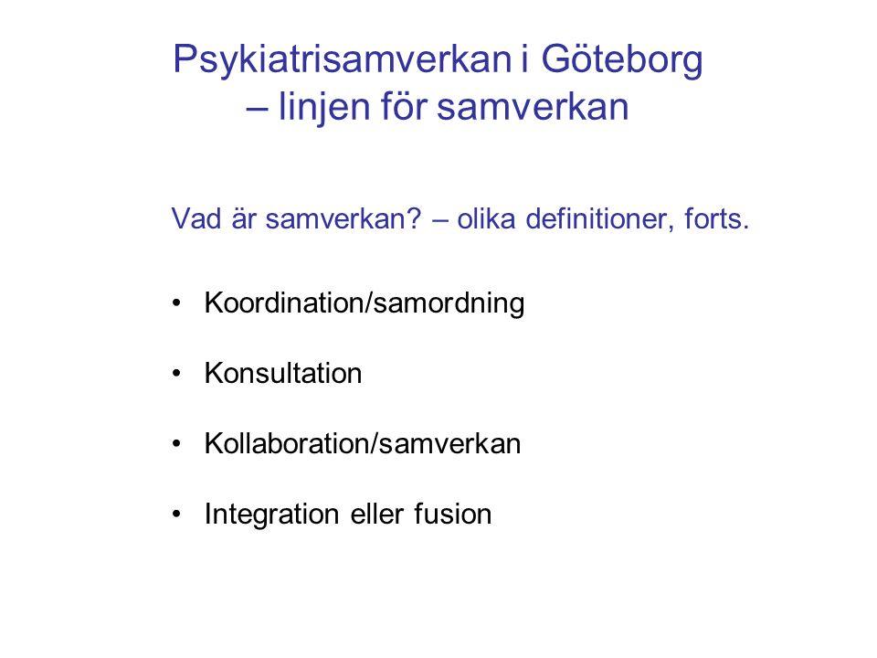 Psykiatrisamverkan i Göteborg – linjen för samverkan Vad är samverkan? – olika definitioner, forts. •Koordination/samordning •Konsultation •Kollaborat