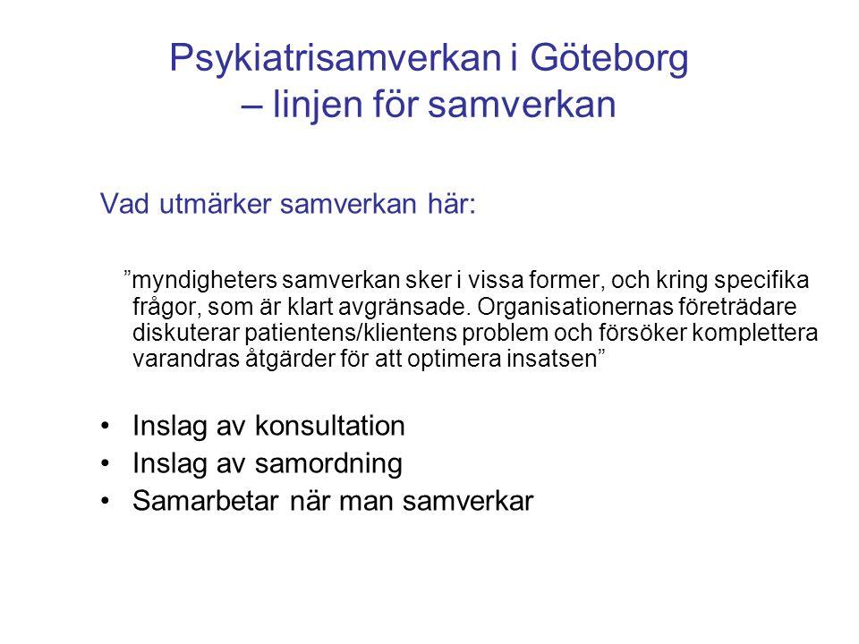 Psykiatrisamverkan i Göteborg – linjen för samverkan Gbg – centralt/decentralt (vertikalt) – arbetar på uppdrag, kompetens, starka organisatoriska normer, avstämning, försiktighet – förändring i byråkrati och kompetens SU – specialisering (horisontellt) – arbetar utifrån professionella normer, frihet visavi organisationen – förändring av professionella normer Primärvård – mitt emellan – professionellt men också tydligare avgränsat uppdrag/beställning, organisatoriska normer betydelsefulla – många enheter, inte så specialiserat – förändring en kombination
