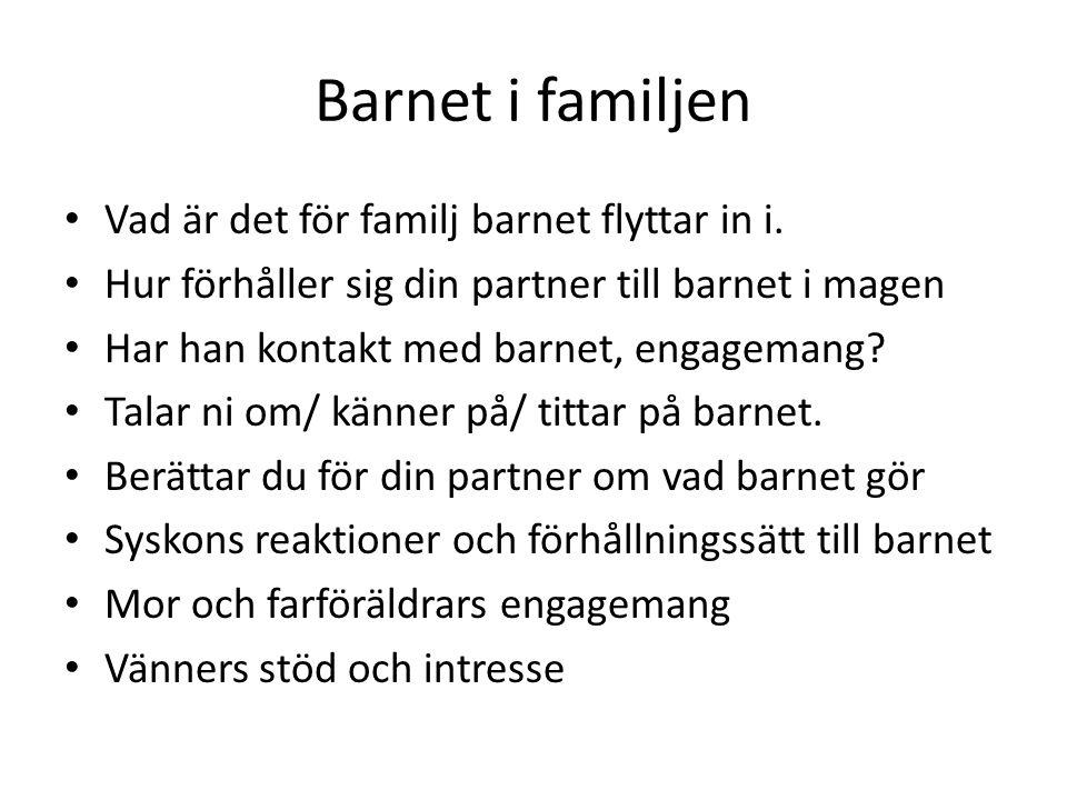 Barnet i familjen • Vad är det för familj barnet flyttar in i. • Hur förhåller sig din partner till barnet i magen • Har han kontakt med barnet, engag
