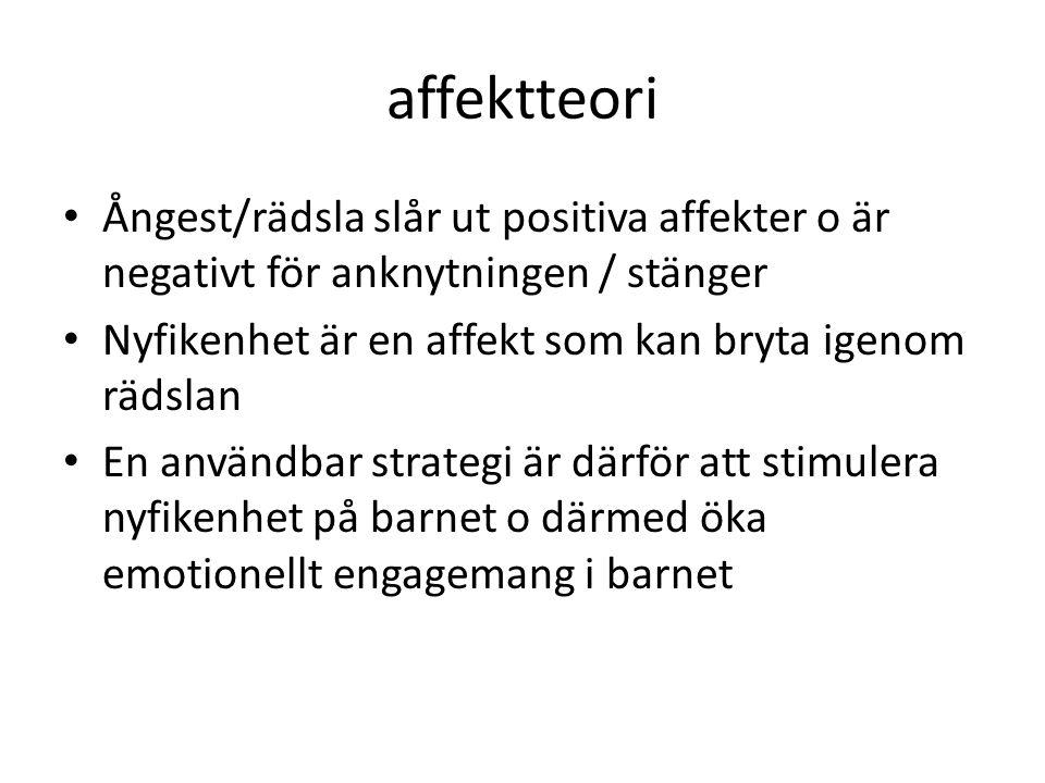 affektteori • Ångest/rädsla slår ut positiva affekter o är negativt för anknytningen / stänger • Nyfikenhet är en affekt som kan bryta igenom rädslan