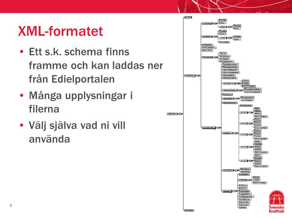 5 XML-formatet •Ett s.k. schema finns framme och kan laddas ner från Edielportalen •Många upplysningar i filerna •Välj själva vad ni vill använda