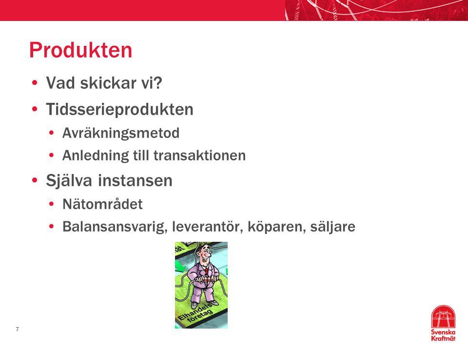 7 Produkten •Vad skickar vi? •Tidsserieprodukten •Avräkningsmetod •Anledning till transaktionen •Själva instansen •Nätområdet •Balansansvarig, leveran
