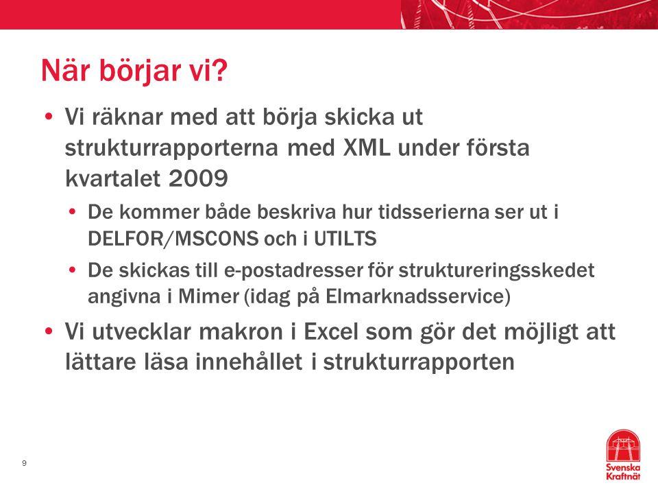 9 När börjar vi? •Vi räknar med att börja skicka ut strukturrapporterna med XML under första kvartalet 2009 •De kommer både beskriva hur tidsserierna
