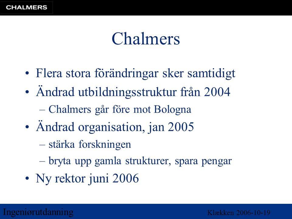 Ingeniørutdanning Klækken 2006-10-19 Chalmers •Flera stora förändringar sker samtidigt •Ändrad utbildningsstruktur från 2004 –Chalmers går före mot Bo