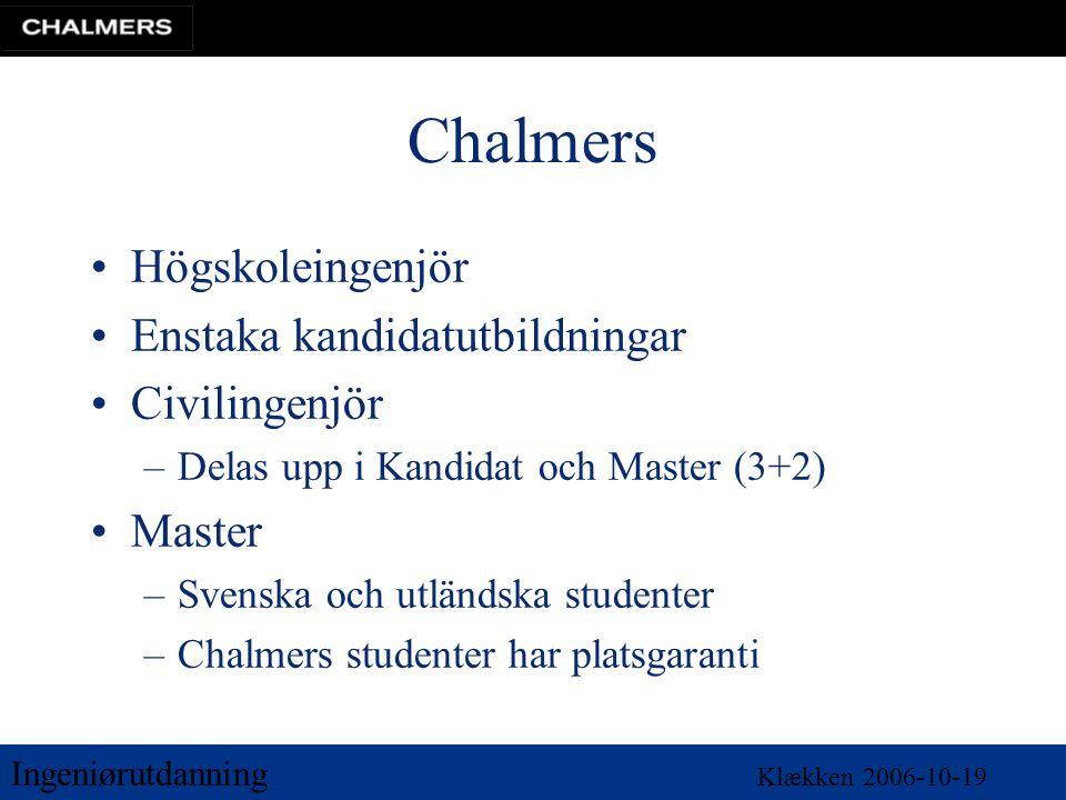 Ingeniørutdanning Klækken 2006-10-19 Chalmers •Högskoleingenjör •Enstaka kandidatutbildningar •Civilingenjör –Delas upp i Kandidat och Master (3+2) •Master –Svenska och utländska studenter –Chalmers studenter har platsgaranti