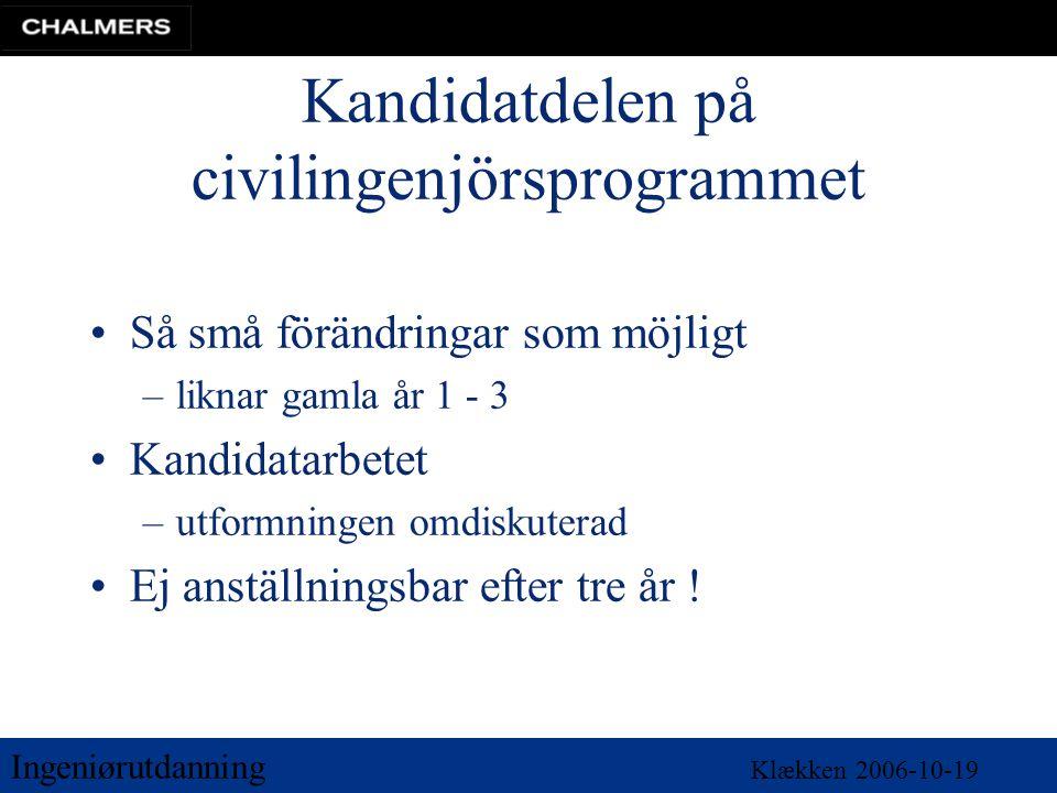 Ingeniørutdanning Klækken 2006-10-19 Kandidatdelen på civilingenjörsprogrammet •Så små förändringar som möjligt –liknar gamla år 1 - 3 •Kandidatarbete