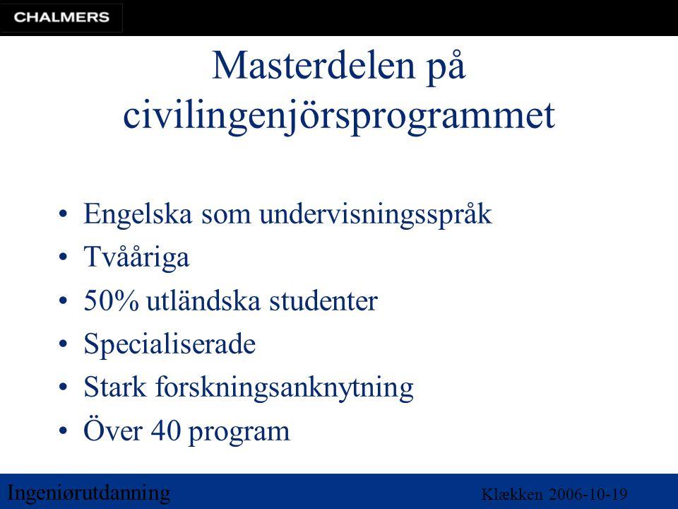 Ingeniørutdanning Klækken 2006-10-19 Masterdelen på civilingenjörsprogrammet •Engelska som undervisningsspråk •Tvååriga •50% utländska studenter •Specialiserade •Stark forskningsanknytning •Över 40 program