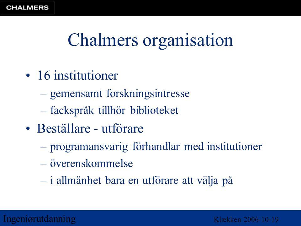 Ingeniørutdanning Klækken 2006-10-19 Chalmers organisation •16 institutioner –gemensamt forskningsintresse –fackspråk tillhör biblioteket •Beställare - utförare –programansvarig förhandlar med institutioner –överenskommelse –i allmänhet bara en utförare att välja på