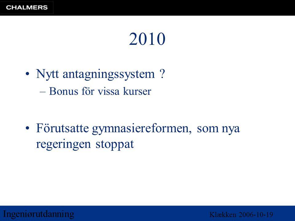 Ingeniørutdanning Klækken 2006-10-19 2010 •Nytt antagningssystem ? –Bonus för vissa kurser •Förutsatte gymnasiereformen, som nya regeringen stoppat