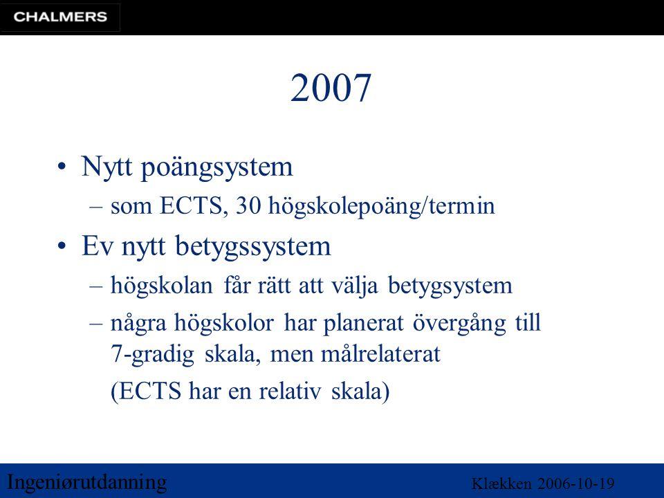 Ingeniørutdanning Klækken 2006-10-19 2007 •Nytt poängsystem –som ECTS, 30 högskolepoäng/termin •Ev nytt betygssystem –högskolan får rätt att välja betygsystem –några högskolor har planerat övergång till 7-gradig skala, men målrelaterat (ECTS har en relativ skala)