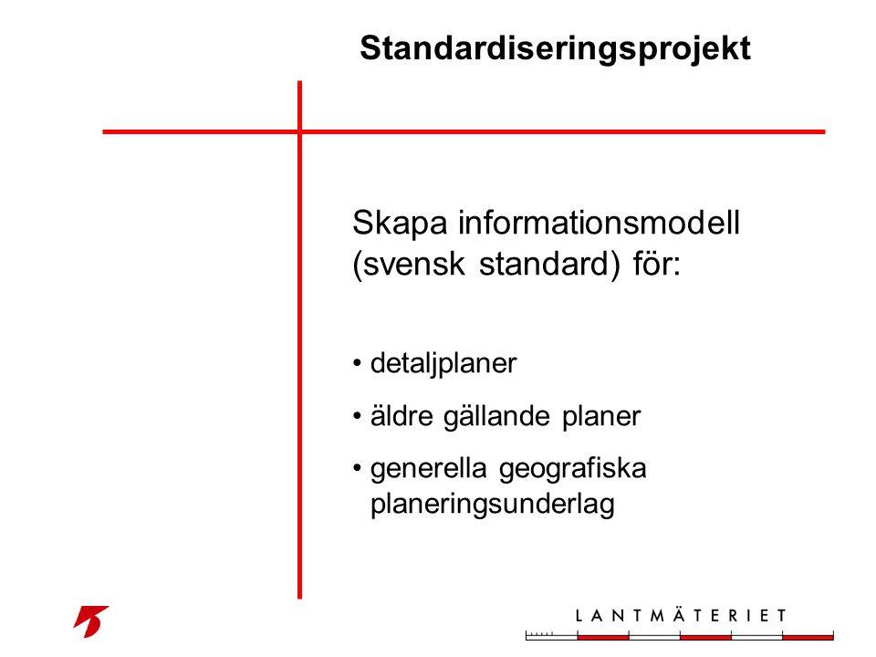 Standardiseringsprojekt Skapa informationsmodell (svensk standard) för: • detaljplaner • äldre gällande planer • generella geografiska planeringsunder