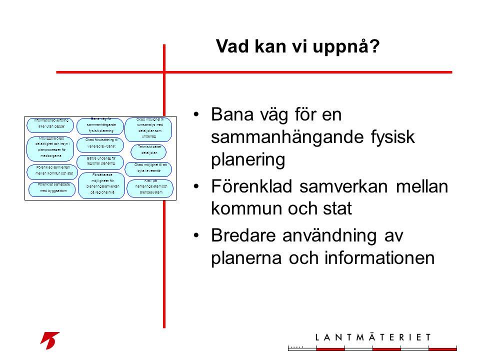 •Bana väg för en sammanhängande fysisk planering •Förenklad samverkan mellan kommun och stat •Bredare användning av planerna och informationen Vad kan