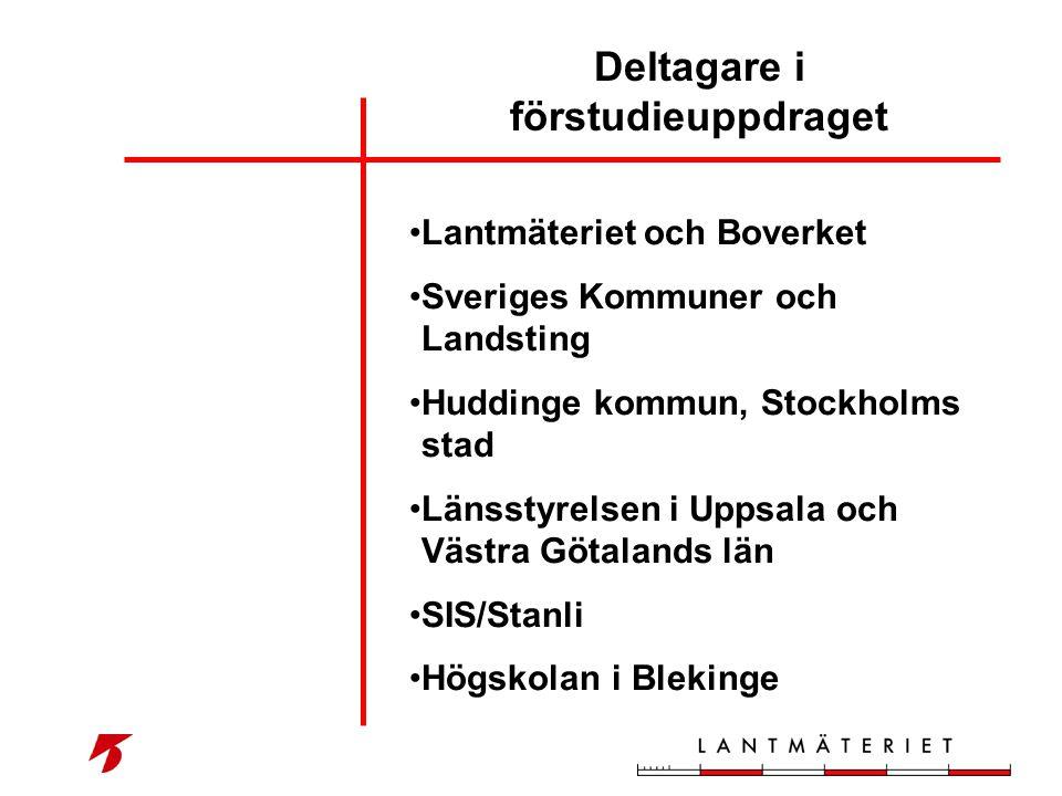 Deltagare i förstudieuppdraget •Lantmäteriet och Boverket •Sveriges Kommuner och Landsting •Huddinge kommun, Stockholms stad •Länsstyrelsen i Uppsala