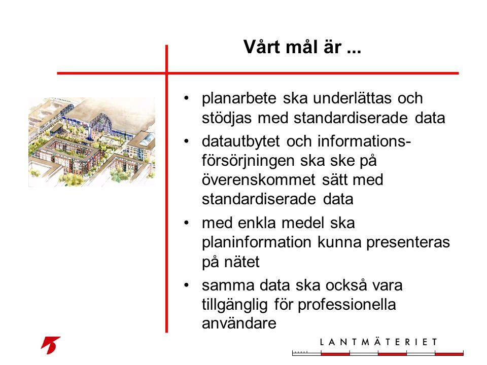 •planarbete ska underlättas och stödjas med standardiserade data •datautbytet och informations- försörjningen ska ske på överenskommet sätt med standa