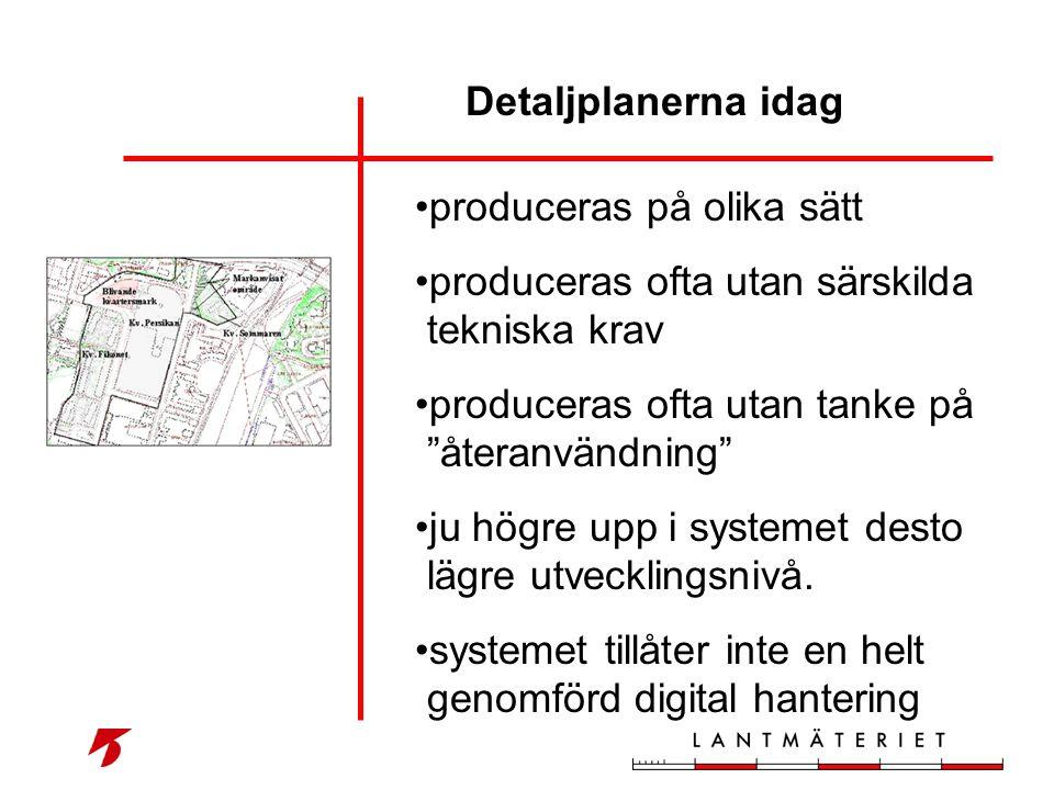 """Detaljplanerna idag • produceras på olika sätt • produceras ofta utan särskilda tekniska krav • produceras ofta utan tanke på """"återanvändning"""" • ju hö"""
