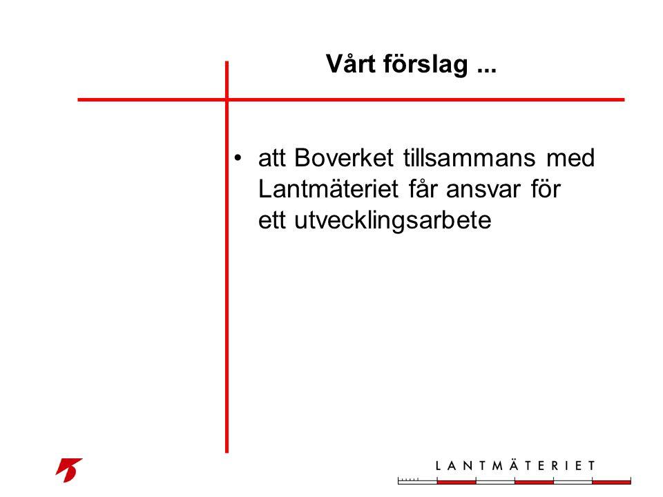 •att Boverket tillsammans med Lantmäteriet får ansvar för ett utvecklingsarbete Vårt förslag...