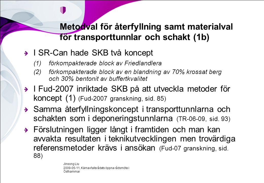 2009-05-11, Kärnavfallsrådets öppna rådsmöte i Östhammar Jinsong Liu Metodval för återfyllning samt materialval för transporttunnlar och schakt (1b) I SR-Can hade SKB två koncept (1)förkompakterade block av Friedlandlera (2)förkompakterade block av en blandning av 70% krossat berg och 30% bentonit av buffertkvalitet I Fud-2007 inriktade SKB på att utveckla metoder för koncept (1) (Fud-2007 granskning, sid.