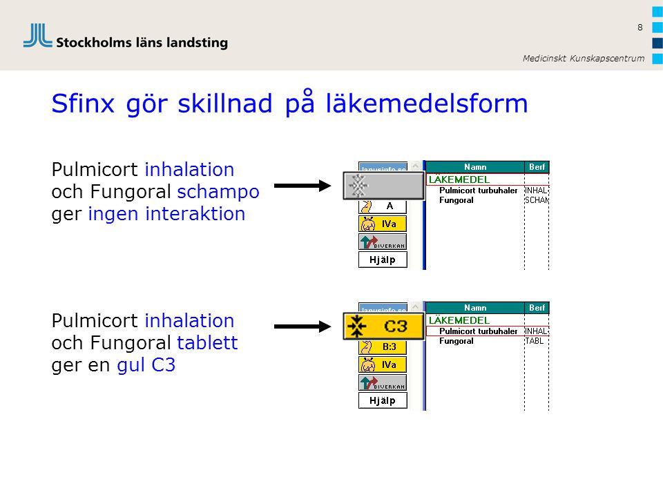 Medicinskt Kunskapscentrum 8 Pulmicort inhalation och Fungoral tablett ger en gul C3 Pulmicort inhalation och Fungoral schampo ger ingen interaktion Sfinx gör skillnad på läkemedelsform