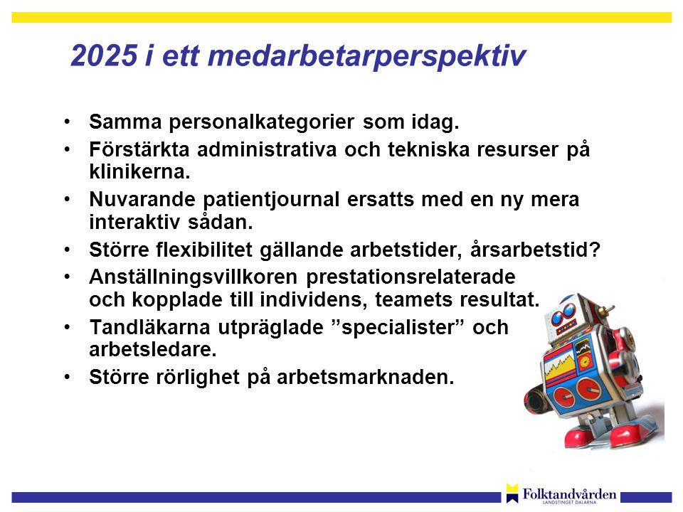 2025 i ett medarbetarperspektiv •Samma personalkategorier som idag.