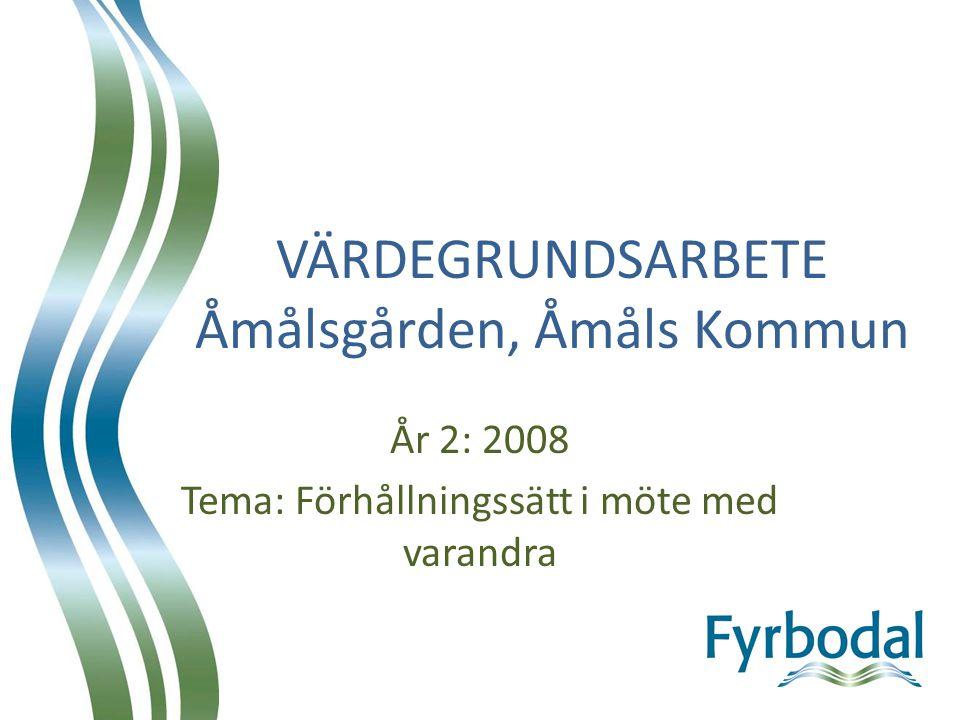 VÄRDEGRUNDSARBETE Åmålsgården, Åmåls Kommun År 2: 2008 Tema: Förhållningssätt i möte med varandra