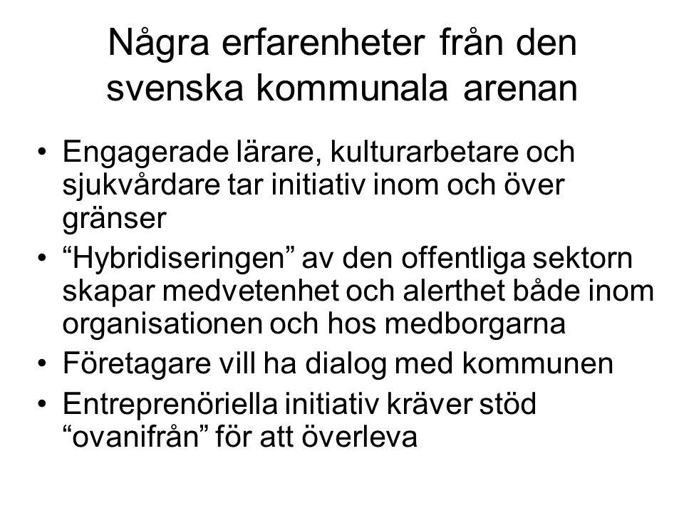 Några erfarenheter från den svenska kommunala arenan •Engagerade lärare, kulturarbetare och sjukvårdare tar initiativ inom och över gränser • Hybridiseringen av den offentliga sektorn skapar medvetenhet och alerthet både inom organisationen och hos medborgarna •Företagare vill ha dialog med kommunen •Entreprenöriella initiativ kräver stöd ovanifrån för att överleva