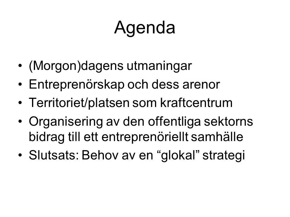 Agenda •(Morgon)dagens utmaningar •Entreprenörskap och dess arenor •Territoriet/platsen som kraftcentrum •Organisering av den offentliga sektorns bidrag till ett entreprenöriellt samhälle •Slutsats: Behov av en glokal strategi