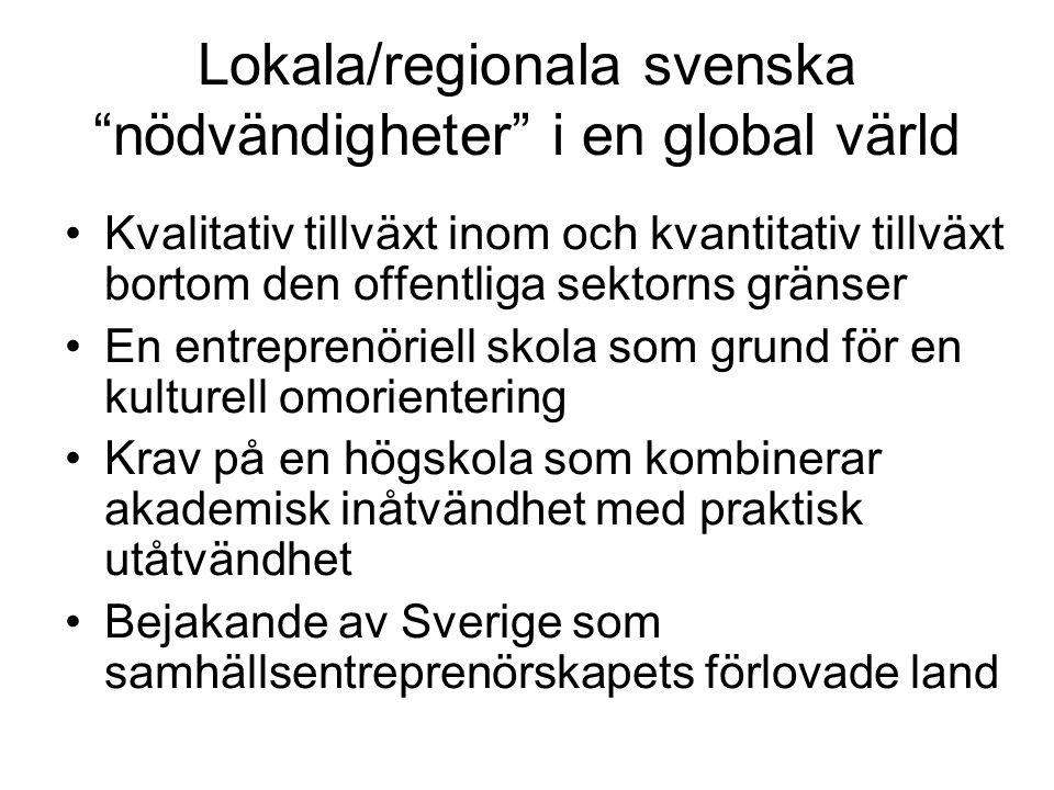 Lokala/regionala svenska nödvändigheter i en global värld •Kvalitativ tillväxt inom och kvantitativ tillväxt bortom den offentliga sektorns gränser •En entreprenöriell skola som grund för en kulturell omorientering •Krav på en högskola som kombinerar akademisk inåtvändhet med praktisk utåtvändhet •Bejakande av Sverige som samhällsentreprenörskapets förlovade land