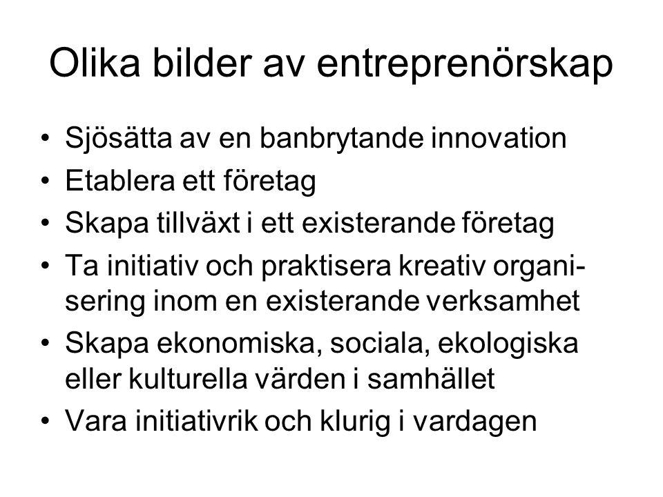 Entreprenörskapets potential inom svenska kommunala organisationer •En stor, synlig, legitim och resursstark aktör •Bred, mångsidig verksamhet •Professionella och engagerade medarbetare •Hög beställarkompetens