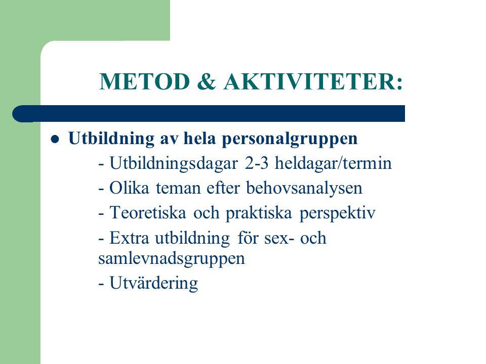 METOD & AKTIVITETER:  Utbildning av hela personalgruppen - Utbildningsdagar 2-3 heldagar/termin - Olika teman efter behovsanalysen - Teoretiska och p