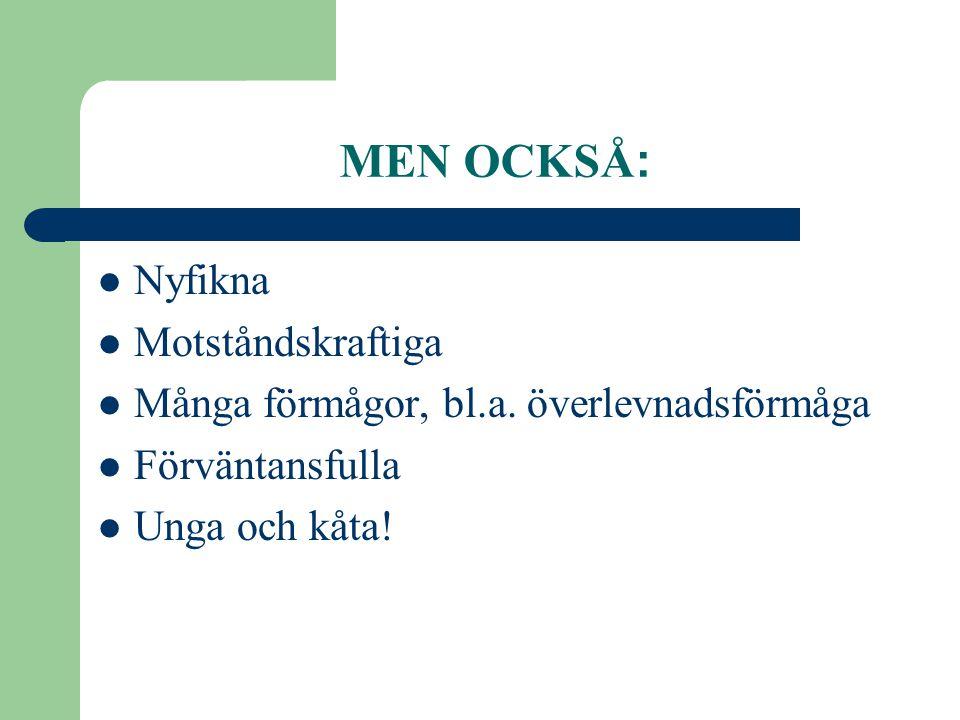 MEN OCKSÅ :  Nyfikna  Motståndskraftiga  Många förmågor, bl.a. överlevnadsförmåga  Förväntansfulla  Unga och kåta!