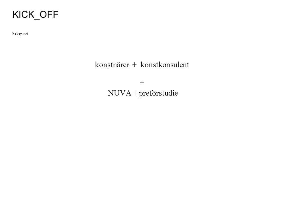 konstnärer + konstkonsulent = NUVA + preförstudie KICK_OFF bakgrund