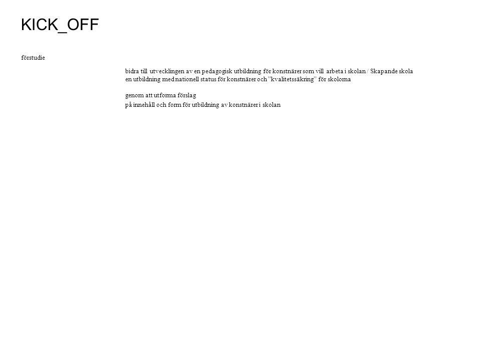 Finansiär (samt medverkar i seminarier) Sveriges konst- konsulenter Projektägare Projektledare Arbetsgrupp Referensgrupp Sveriges konst- konsulenter Medverkar i KICK_OFF seminarium.