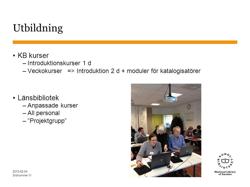Sidnummer Utbildning •KB kurser –Introduktionskurser 1 d –Veckokurser => Introduktion 2 d + moduler för katalogisatörer •Länsbibliotek –Anpassade kurser –All personal – Projektgrupp 2013-02-04 11