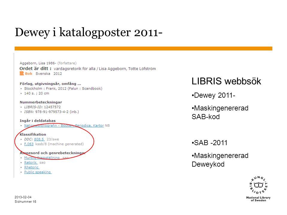 Sidnummer 2013-02-04 15 Dewey i katalogposter 2011- LIBRIS webbsök •Dewey 2011- •Maskingenererad SAB-kod •SAB -2011 •Maskingenererad Deweykod