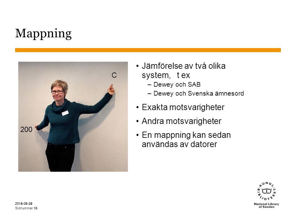 Sidnummer Mappning •Jämförelse av två olika system, t ex –Dewey och SAB –Dewey och Svenska ämnesord •Exakta motsvarigheter •Andra motsvarigheter •En mappning kan sedan användas av datorer 2014-06-22 16 200 C 16 2013-02-04