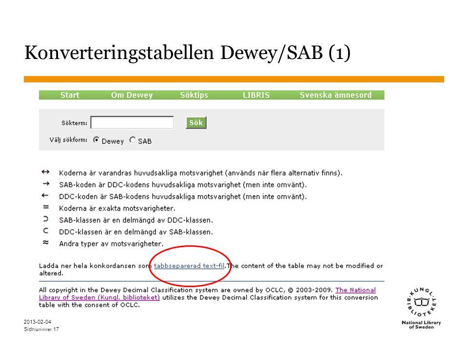 Sidnummer Konverteringstabellen Dewey/SAB (1) 17 2013-02-04