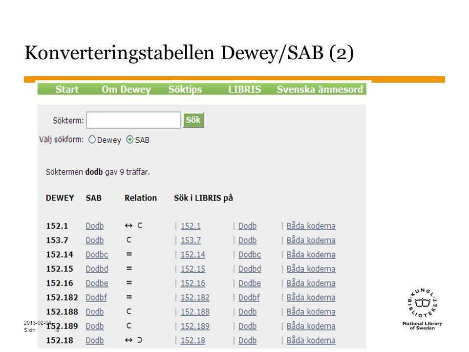 Sidnummer Konverteringstabellen Dewey/SAB (2) 18 2013-02-04