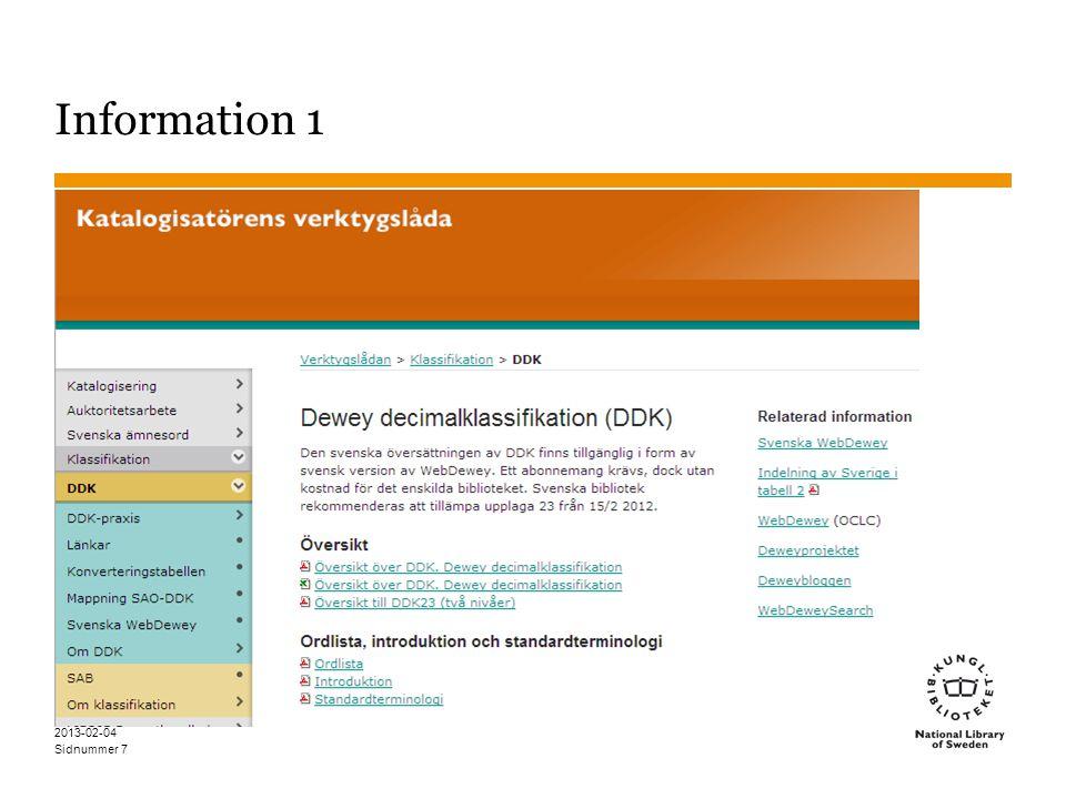 Sidnummer 2013-02-04 7 Information 1