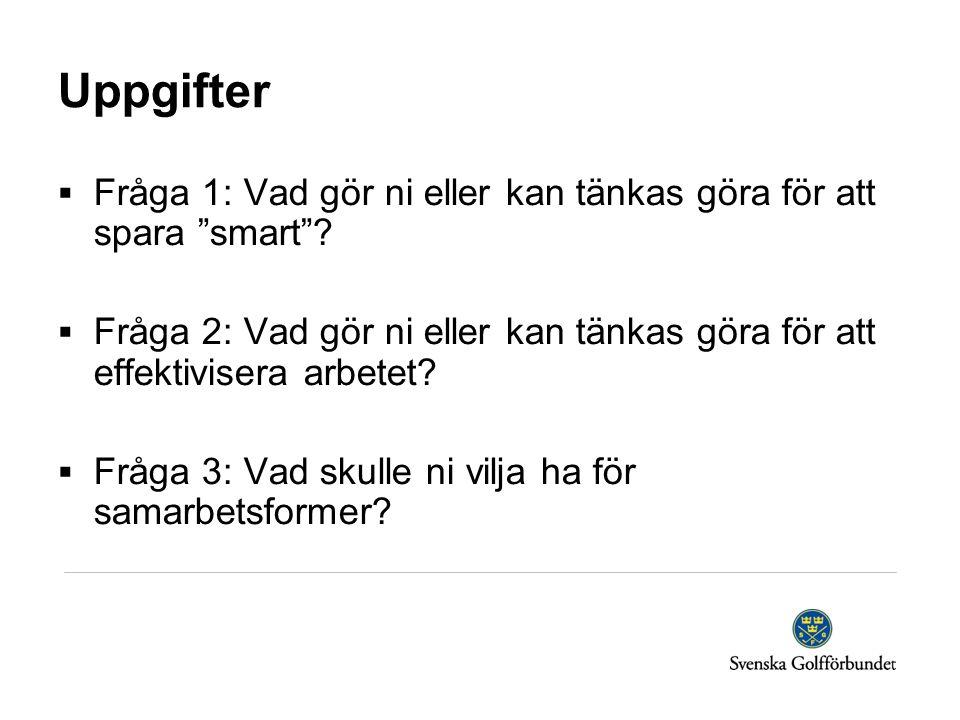 """Uppgifter  Fråga 1: Vad gör ni eller kan tänkas göra för att spara """"smart""""?  Fråga 2: Vad gör ni eller kan tänkas göra för att effektivisera arbetet"""