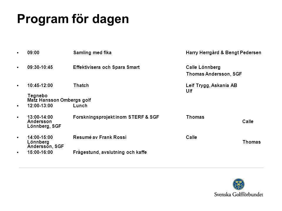 Program för dagen  09:00 Samling med fikaHarry Herrgård & Bengt Pedersen  09:30-10:45 Effektivisera och Spara SmartCalle Lönnberg Thomas Andersson,