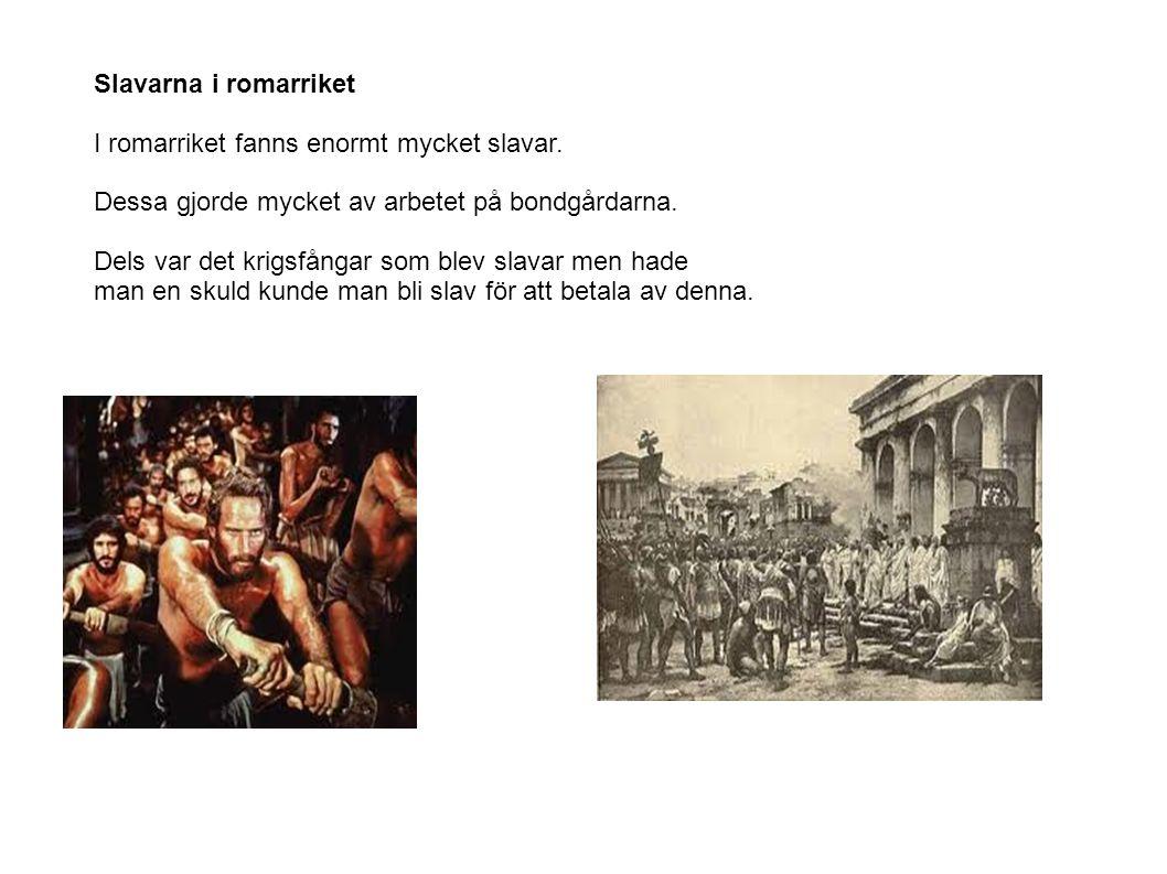Slavarna i romarriket I romarriket fanns enormt mycket slavar. Dessa gjorde mycket av arbetet på bondgårdarna. Dels var det krigsfångar som blev slava