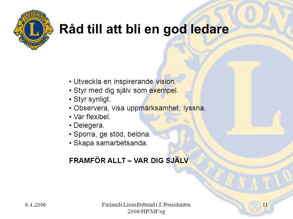 6.4.2006Finlands Lionsförbund r.f./Presidenten 2006/HP/MF/sg 11 Råd till att bli en god ledare • Utveckla en inspirerande vision.