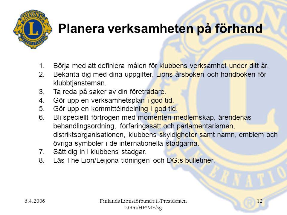 6.4.2006Finlands Lionsförbund r.f./Presidenten 2006/HP/MF/sg 12 Planera verksamheten på förhand 1.Börja med att definiera målen för klubbens verksamhet under ditt år.