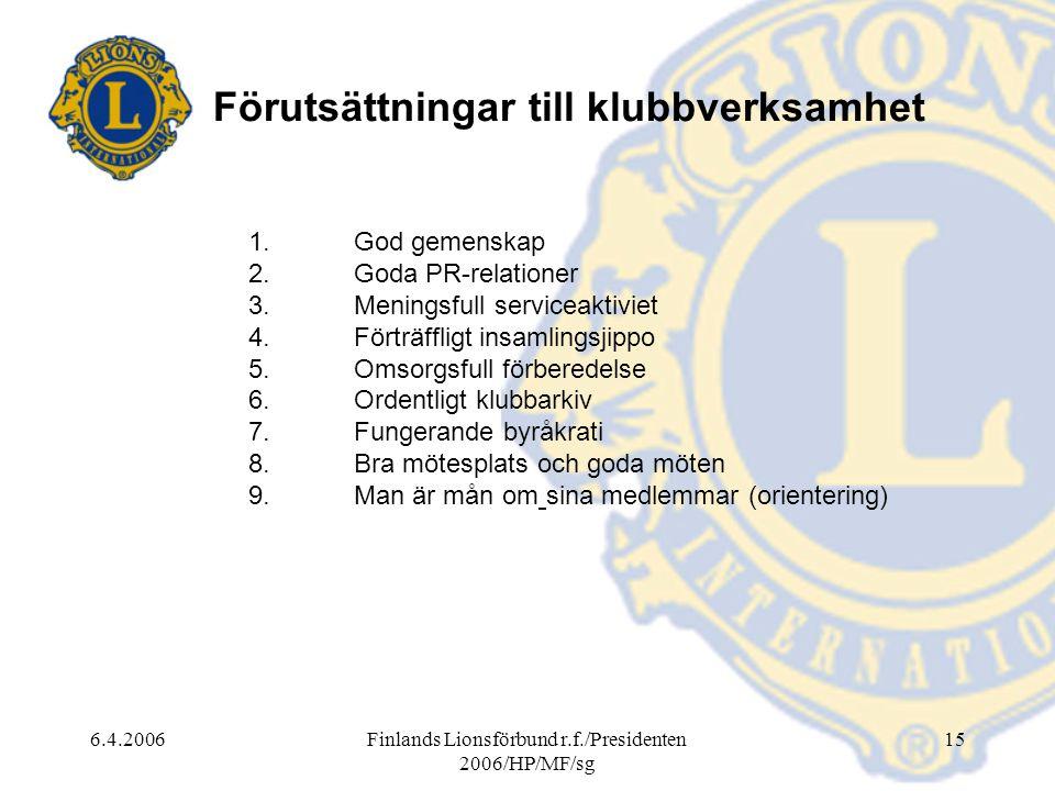 6.4.2006Finlands Lionsförbund r.f./Presidenten 2006/HP/MF/sg 15 Förutsättningar till klubbverksamhet 1.God gemenskap 2.Goda PR-relationer 3.Meningsfull serviceaktiviet 4.Förträffligt insamlingsjippo 5.Omsorgsfull förberedelse 6.Ordentligt klubbarkiv 7.Fungerande byråkrati 8.Bra mötesplats och goda möten 9.Man är mån om sina medlemmar (orientering)