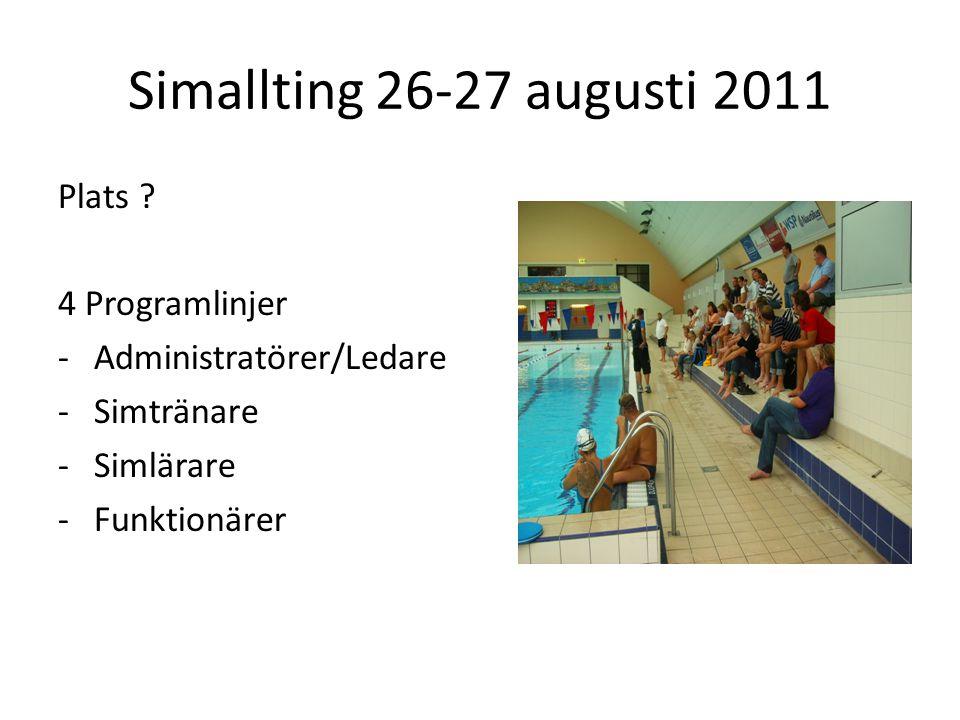 Simallting 26-27 augusti 2011 Plats .